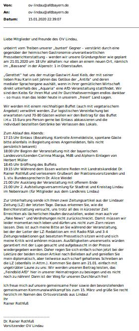 Mail Gründungsfeier OV Lindau am 21.01. in Oberstaufen: Aktualisierte Infos